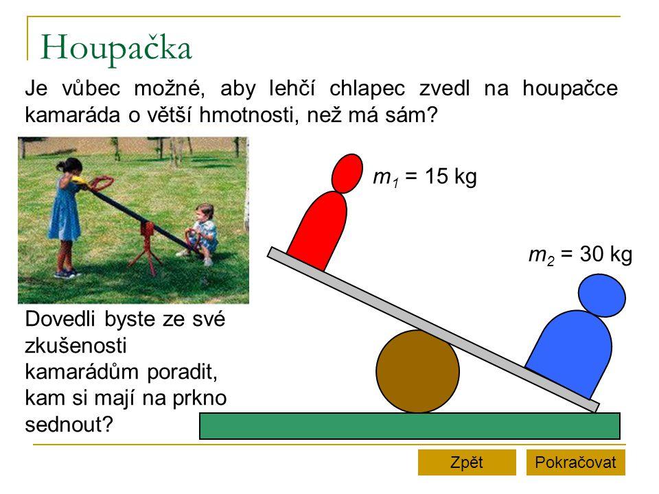 Houpačka Je vůbec možné, aby lehčí chlapec zvedl na houpačce kamaráda o větší hmotnosti, než má sám