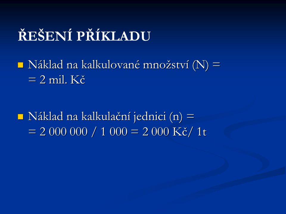 ŘEŠENÍ PŘÍKLADU Náklad na kalkulované množství (N) = = 2 mil. Kč