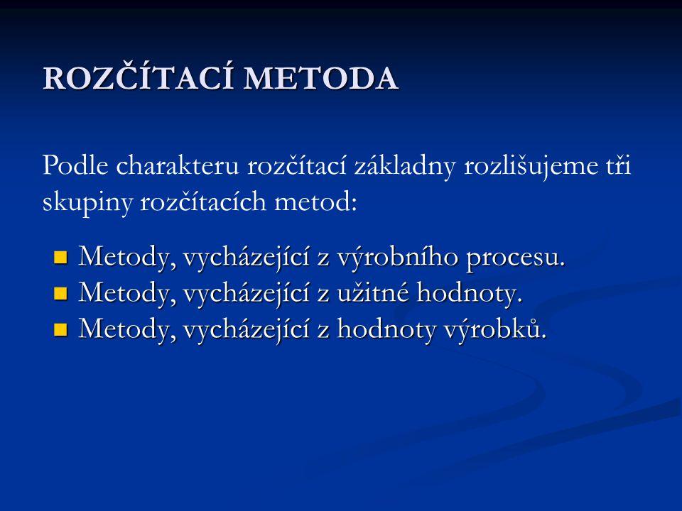 ROZČÍTACÍ METODA Podle charakteru rozčítací základny rozlišujeme tři skupiny rozčítacích metod: Metody, vycházející z výrobního procesu.