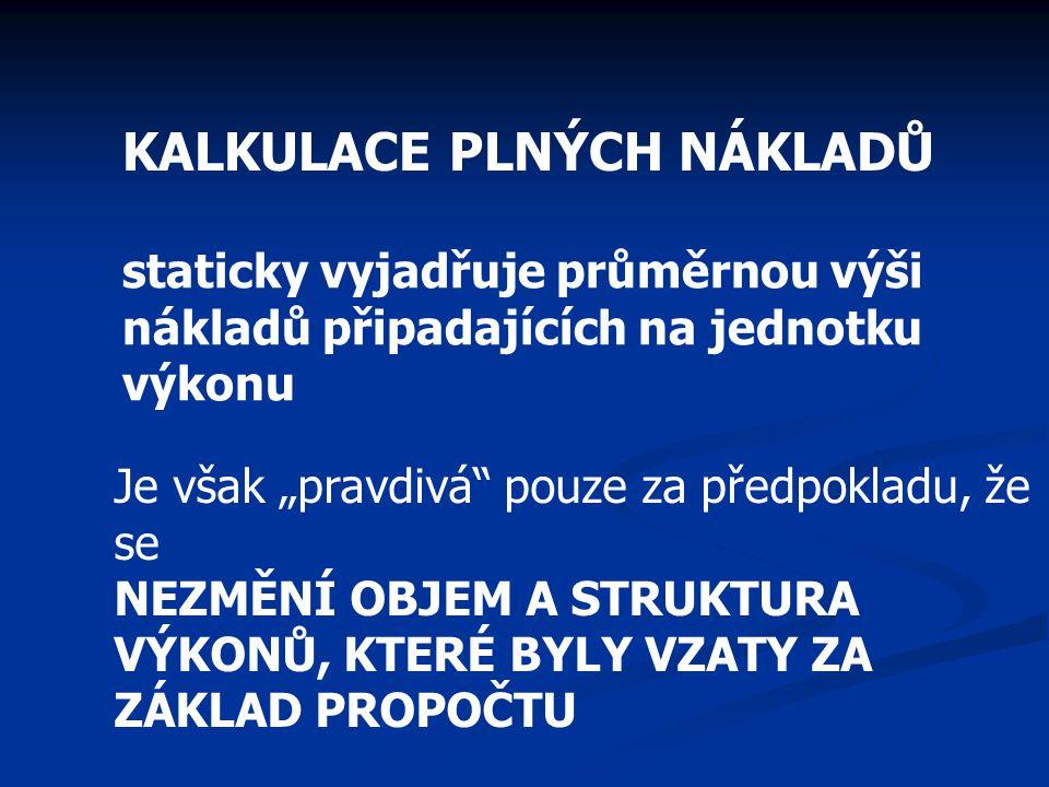 KALKULACE PLNÝCH NÁKLADŮ