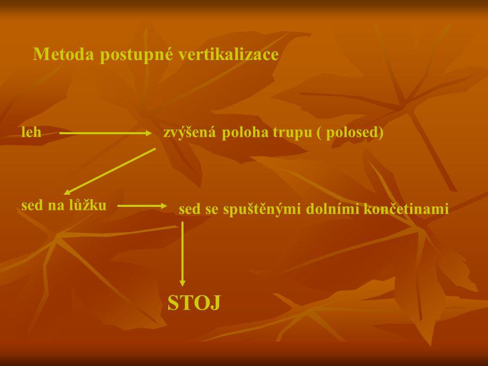 STOJ Metoda postupné vertikalizace leh zvýšená poloha trupu ( polosed)
