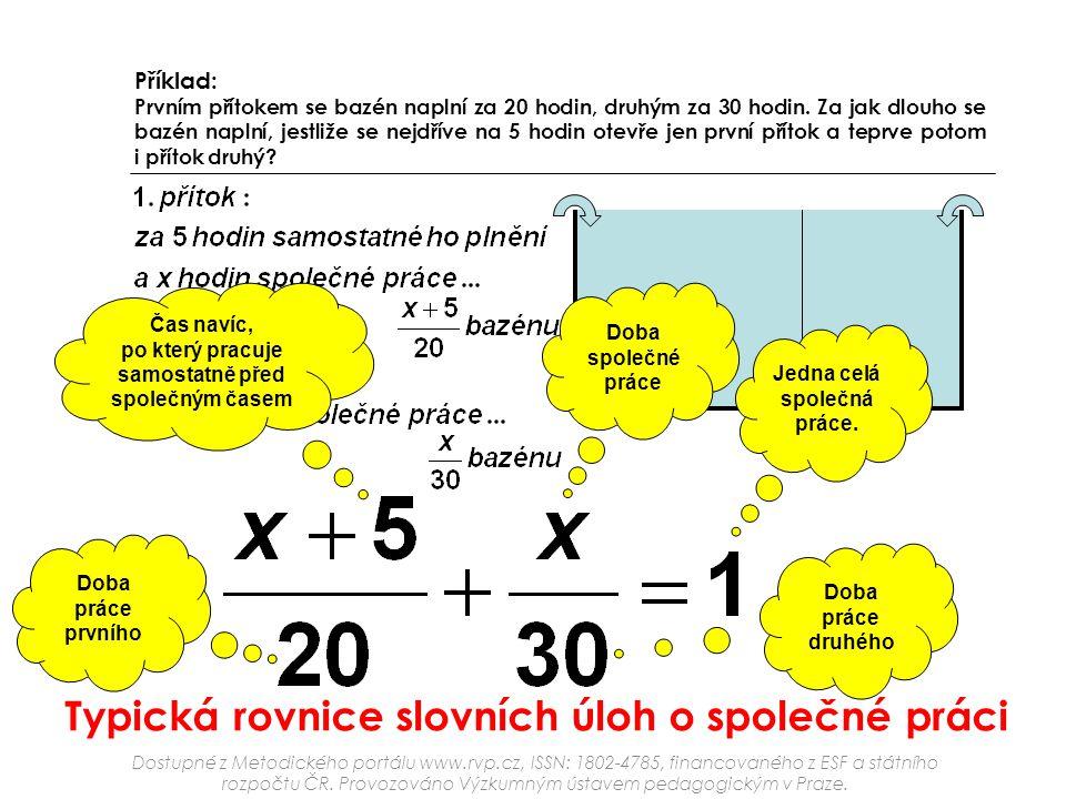 Typická rovnice slovních úloh o společné práci