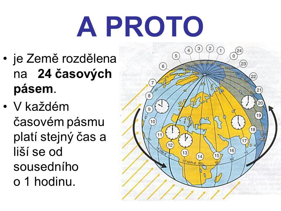 A PROTO je Země rozdělena na 24 časových pásem.