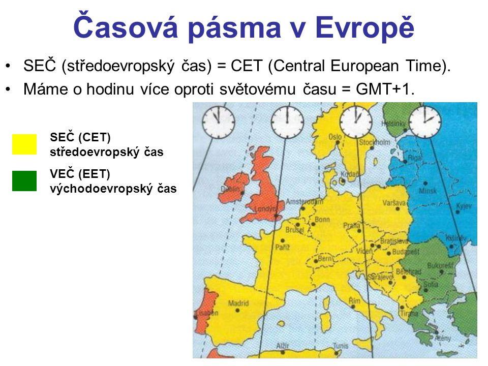 Časová pásma v Evropě SEČ (středoevropský čas) = CET (Central European Time). Máme o hodinu více oproti světovému času = GMT+1.
