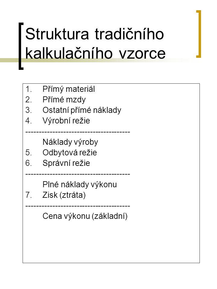 Struktura tradičního kalkulačního vzorce