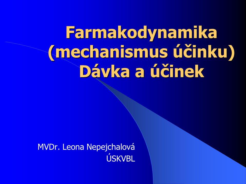 Farmakodynamika (mechanismus účinku) Dávka a účinek