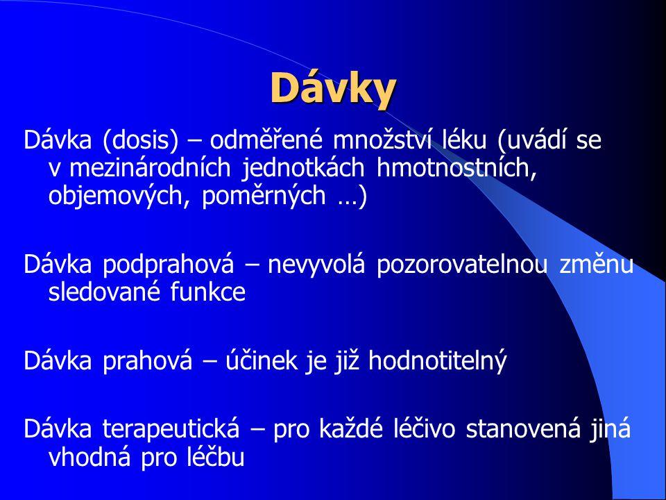 Dávky Dávka (dosis) – odměřené množství léku (uvádí se v mezinárodních jednotkách hmotnostních, objemových, poměrných …)