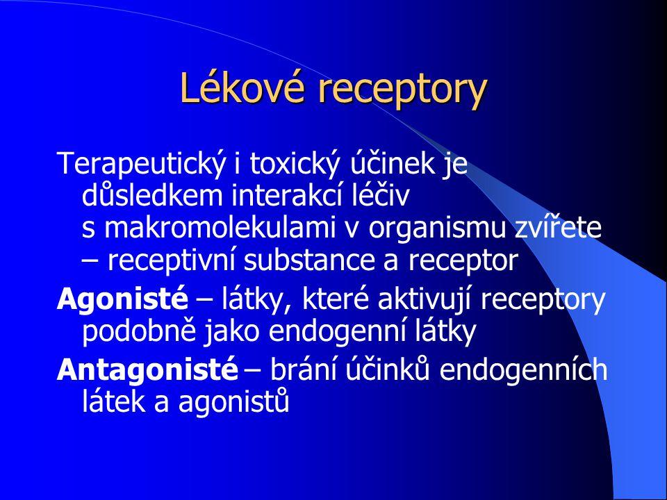 Lékové receptory Terapeutický i toxický účinek je důsledkem interakcí léčiv s makromolekulami v organismu zvířete – receptivní substance a receptor.