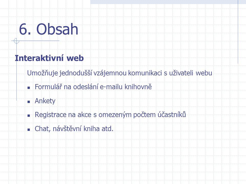 6. Obsah Interaktivní web
