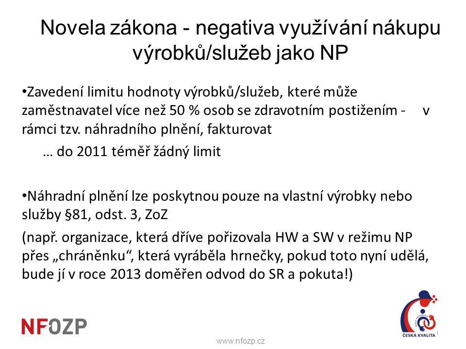 Novela zákona - negativa využívání nákupu výrobků/služeb jako NP