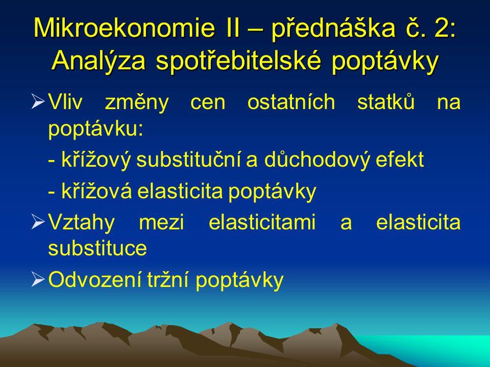 Mikroekonomie II – přednáška č. 2: Analýza spotřebitelské poptávky