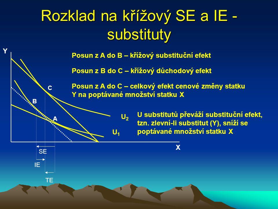 Rozklad na křížový SE a IE - substituty