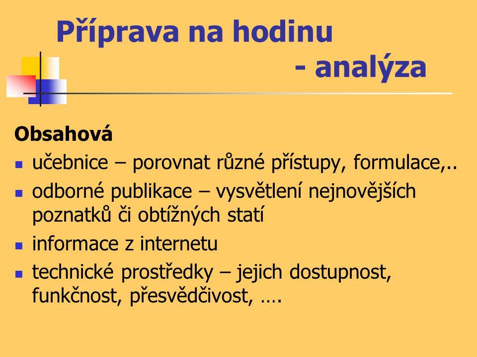 Příprava na hodinu - analýza