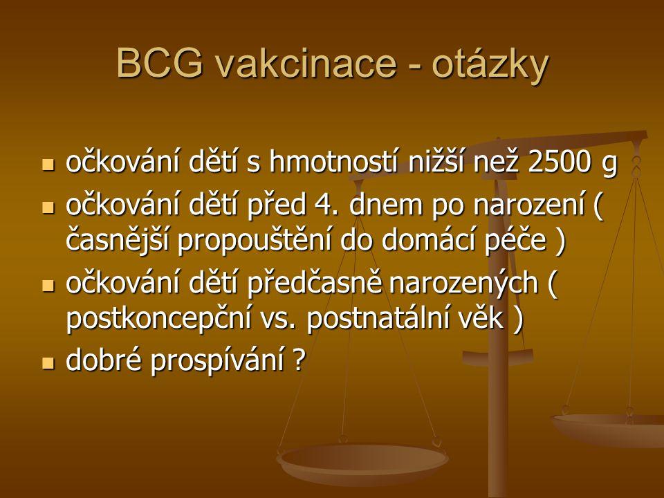 BCG vakcinace - otázky očkování dětí s hmotností nižší než 2500 g