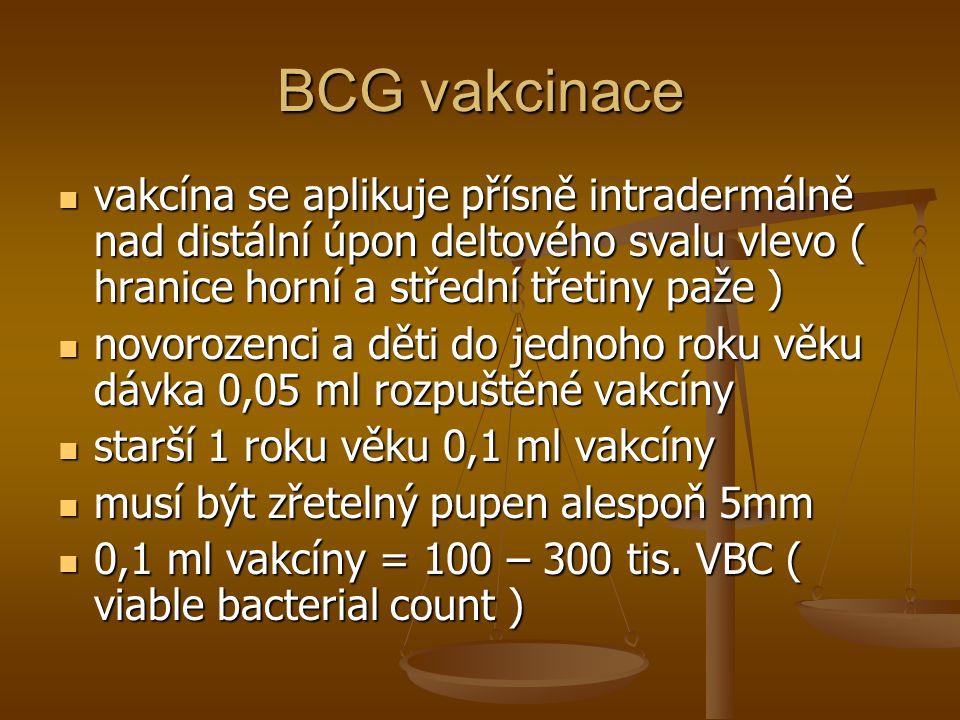 BCG vakcinace vakcína se aplikuje přísně intradermálně nad distální úpon deltového svalu vlevo ( hranice horní a střední třetiny paže )