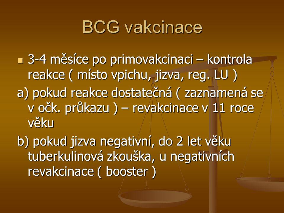 BCG vakcinace 3-4 měsíce po primovakcinaci – kontrola reakce ( místo vpichu, jizva, reg. LU )