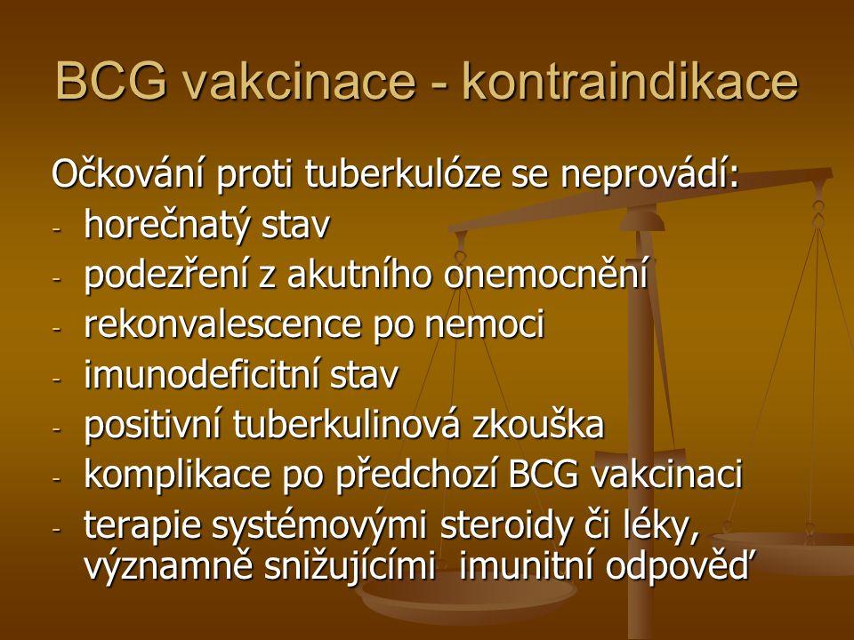 BCG vakcinace - kontraindikace