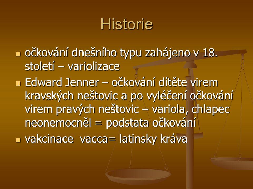 Historie očkování dnešního typu zahájeno v 18. století – variolizace