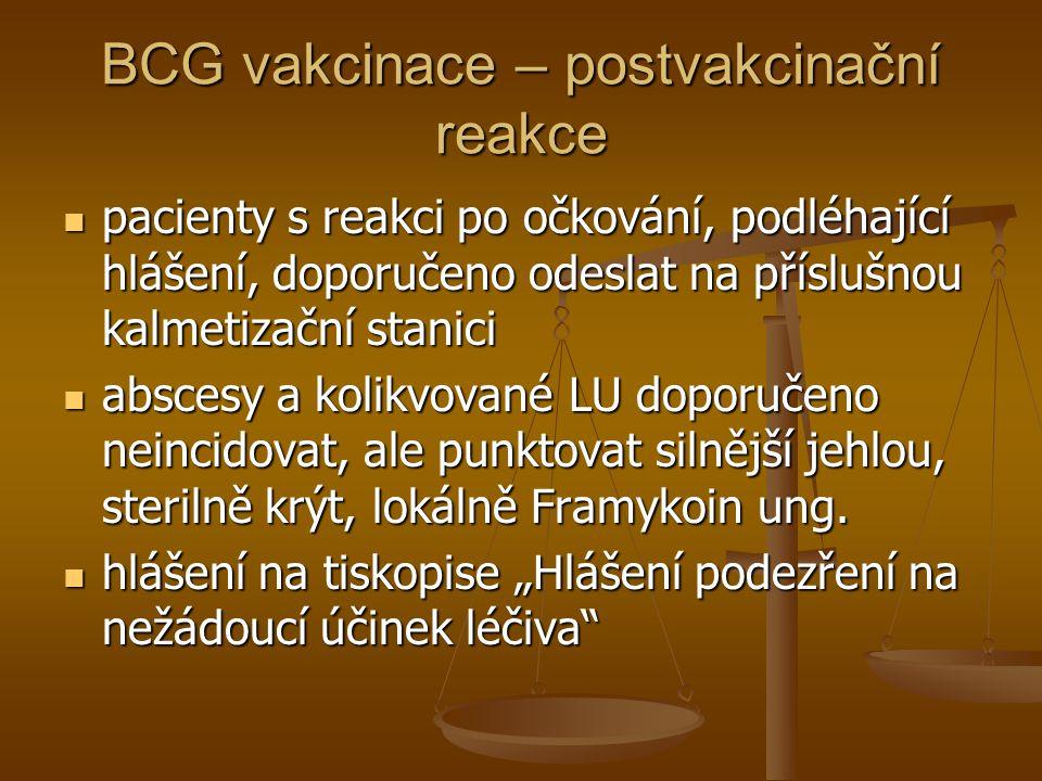 BCG vakcinace – postvakcinační reakce