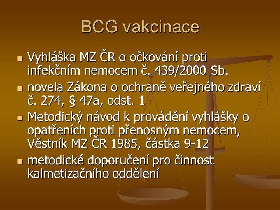 BCG vakcinace Vyhláška MZ ČR o očkování proti infekčním nemocem č. 439/2000 Sb. novela Zákona o ochraně veřejného zdraví č. 274, § 47a, odst. 1.