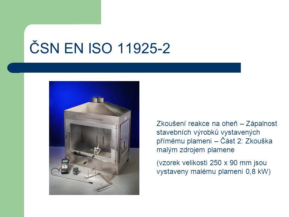 ČSN EN ISO 11925-2 Zkoušení reakce na oheň – Zápalnost stavebních výrobků vystavených přímému plameni – Část 2: Zkouška malým zdrojem plamene.