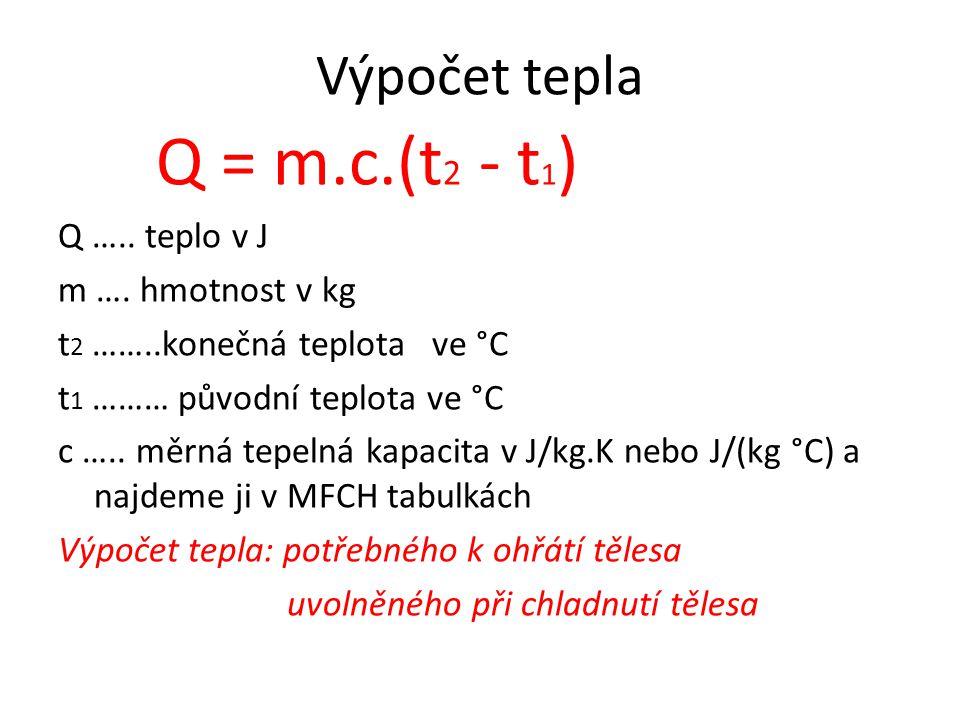 Q = m.c.(t2 - t1) Výpočet tepla Q ….. teplo v J m …. hmotnost v kg