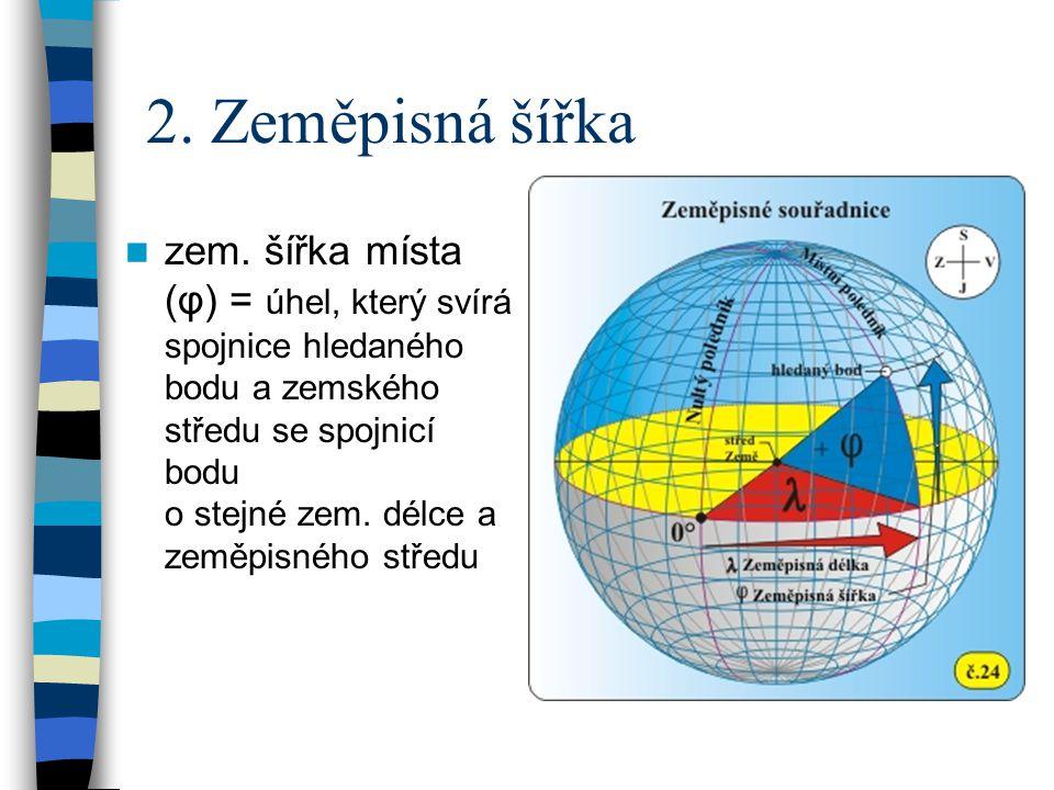 2. Zeměpisná šířka