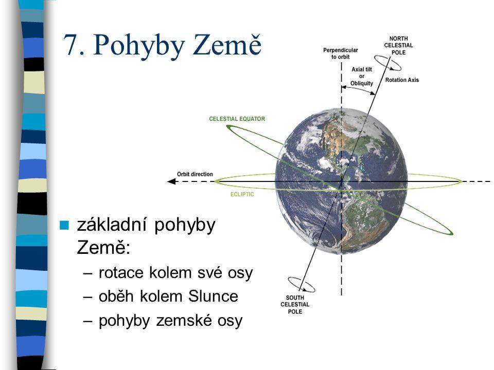 7. Pohyby Země základní pohyby Země: rotace kolem své osy