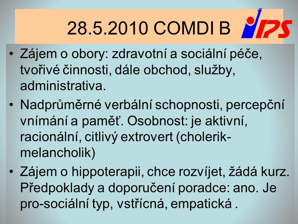 28.5.2010 COMDI B Zájem o obory: zdravotní a sociální péče, tvořivé činnosti, dále obchod, služby, administrativa.