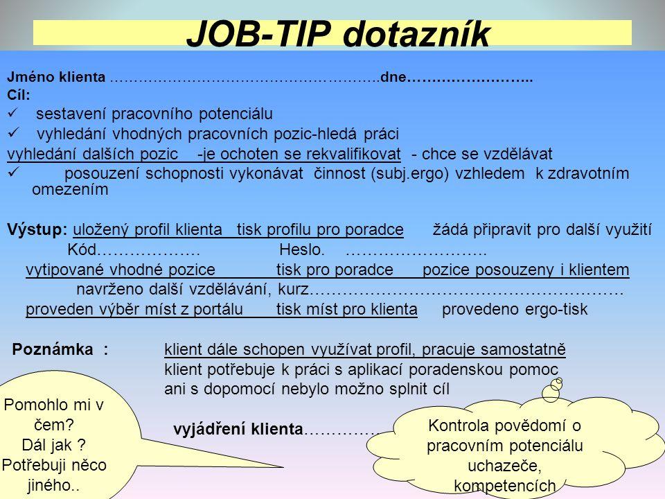 Kontrola povědomí o pracovním potenciálu uchazeče, kompetencích