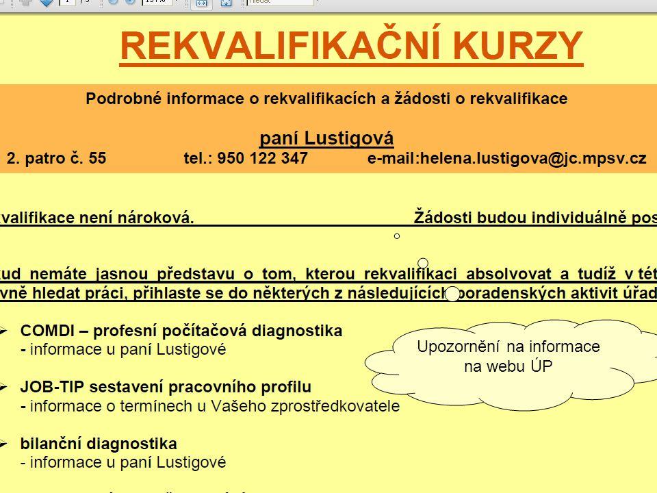 Upozornění na informace na webu ÚP