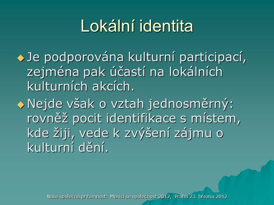 Lokální identita Je podporována kulturní participací, zejména pak účastí na lokálních kulturních akcích.