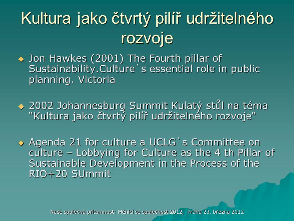 Kultura jako čtvrtý pilíř udržitelného rozvoje