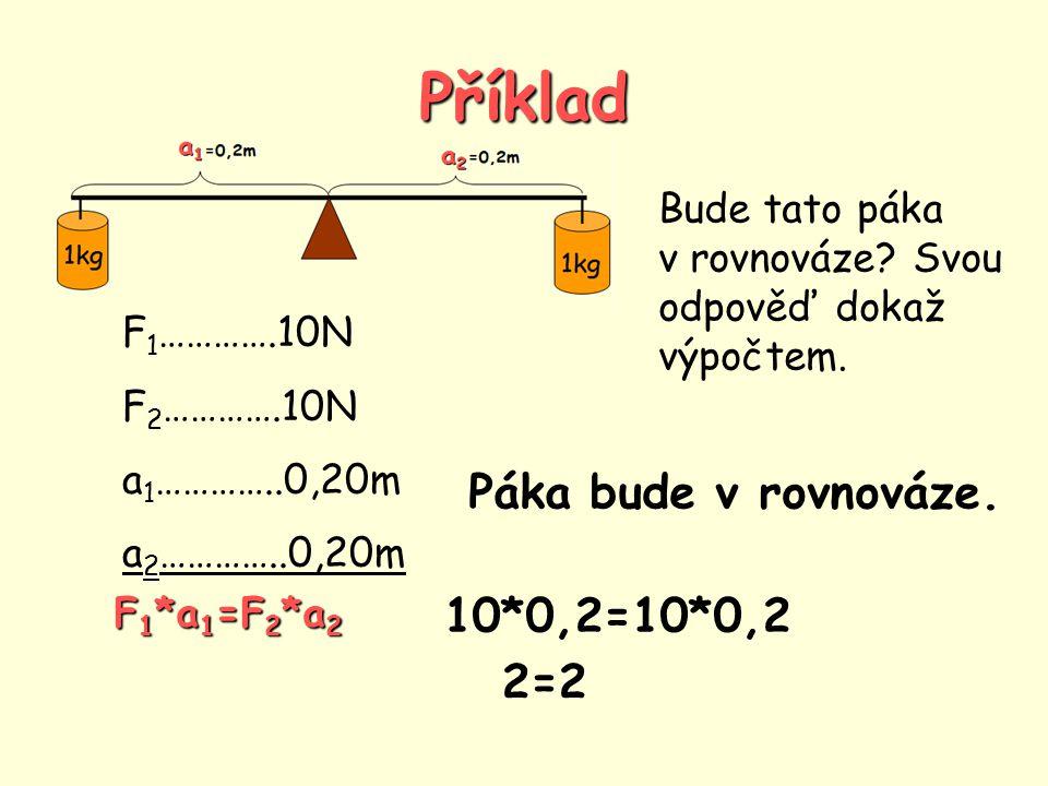 Příklad Páka bude v rovnováze. 10*0,2=10*0,2 2=2