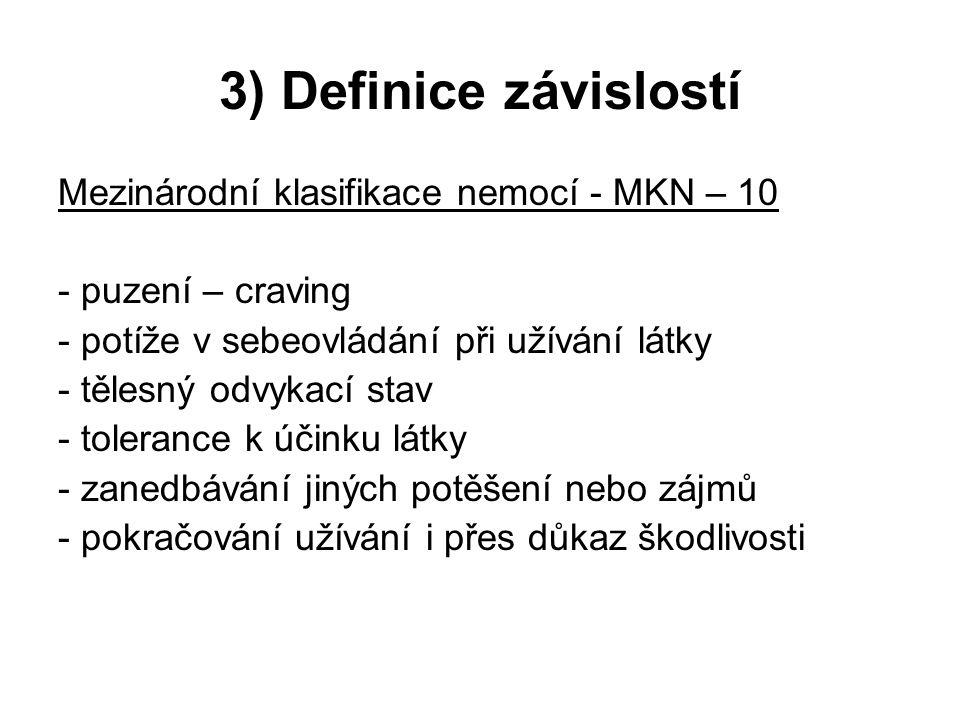 3) Definice závislostí Mezinárodní klasifikace nemocí - MKN – 10