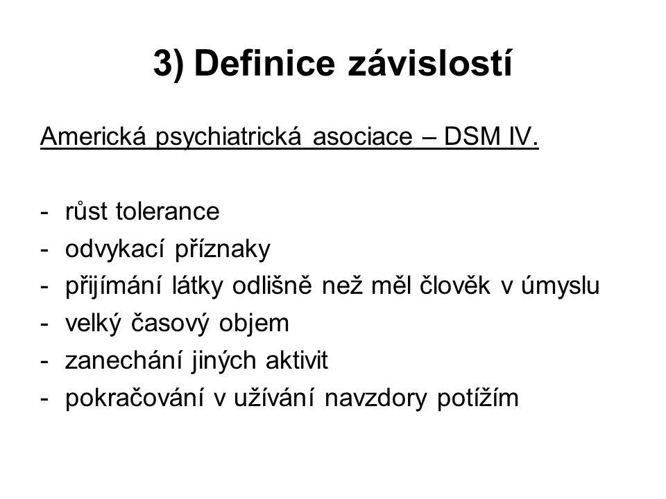 3) Definice závislostí Americká psychiatrická asociace – DSM IV.