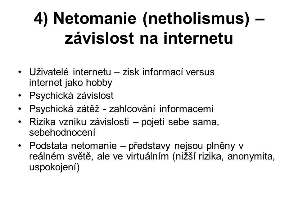 4) Netomanie (netholismus) – závislost na internetu