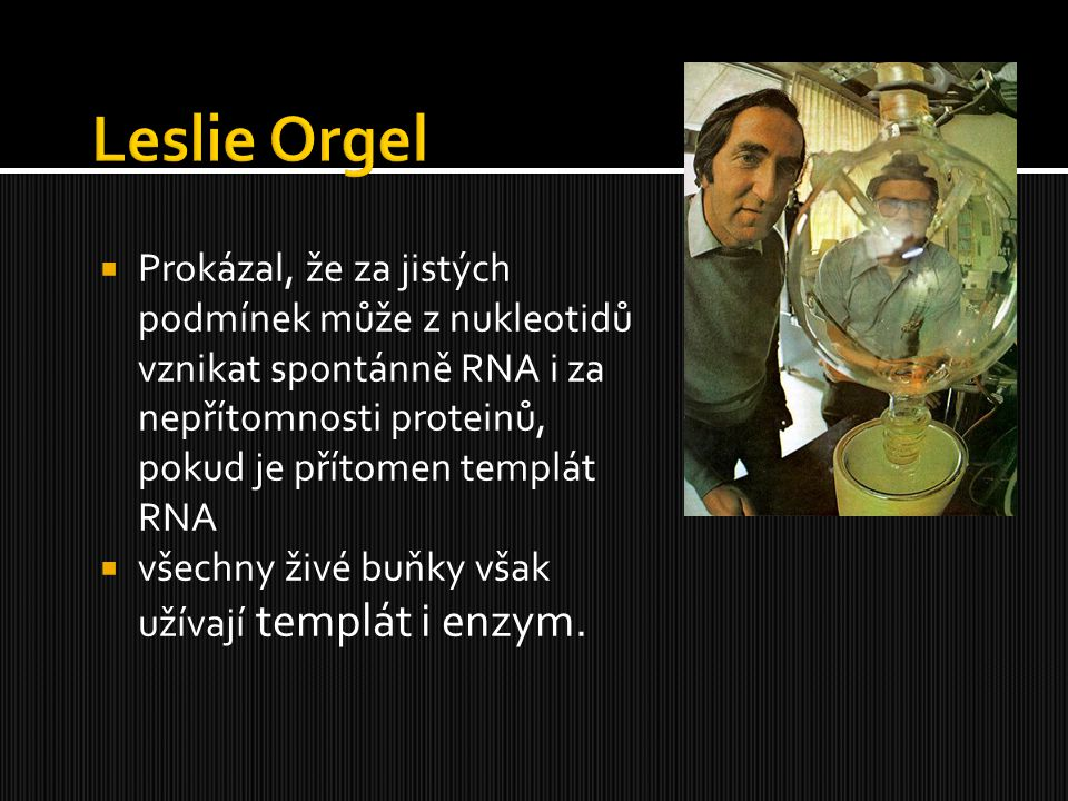 Leslie Orgel Prokázal, že za jistých podmínek může z nukleotidů vznikat spontánně RNA i za nepřítomnosti proteinů, pokud je přítomen templát RNA.