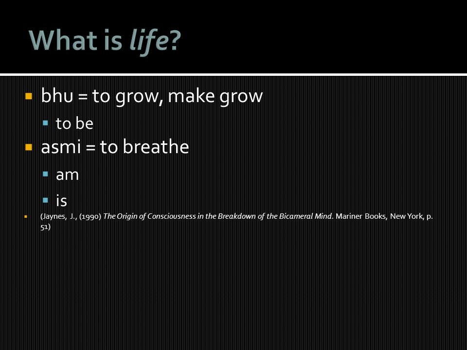 What is life bhu = to grow, make grow asmi = to breathe to be am is