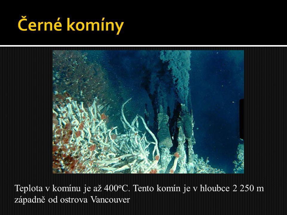 Černé komíny Teplota v komínu je až 400oC. Tento komín je v hloubce 2 250 m.