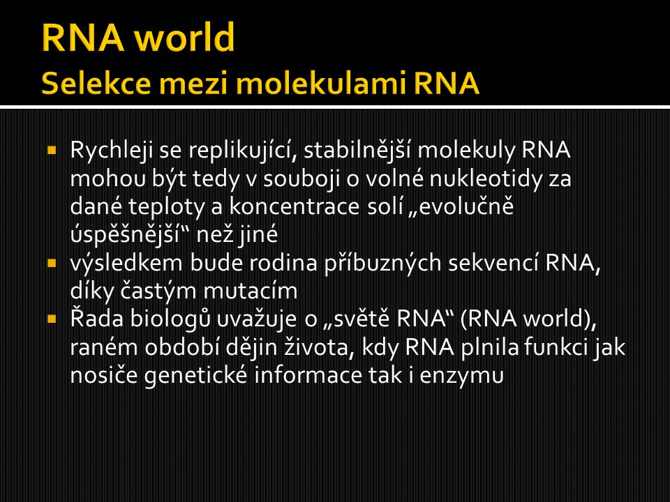 RNA world Selekce mezi molekulami RNA