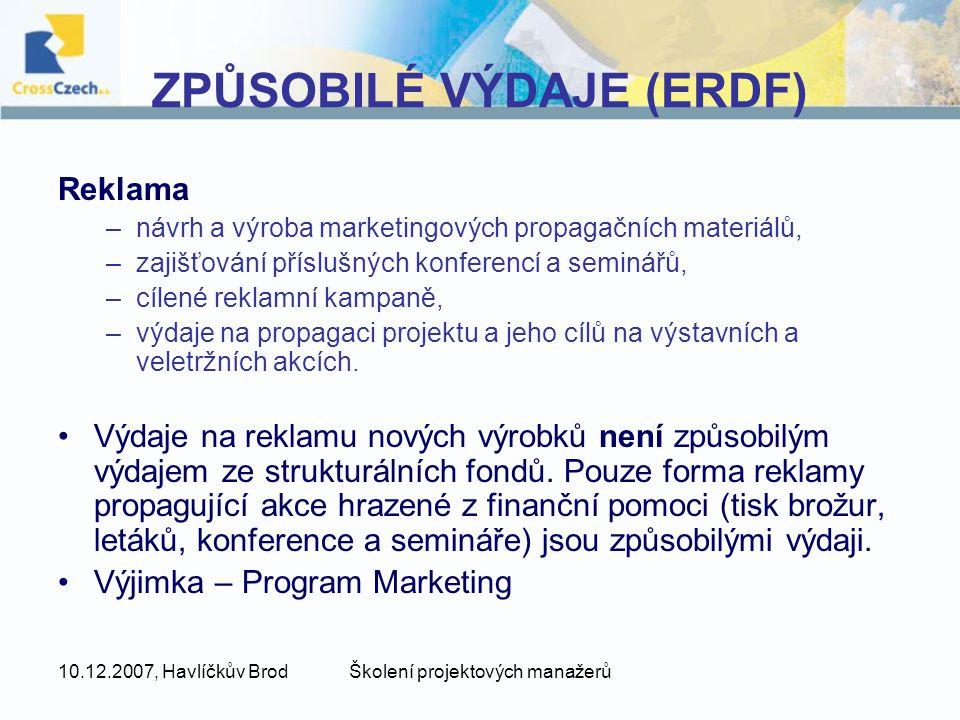 ZPŮSOBILÉ VÝDAJE (ERDF)