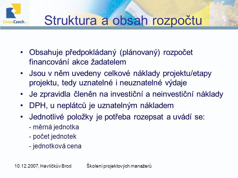 Struktura a obsah rozpočtu
