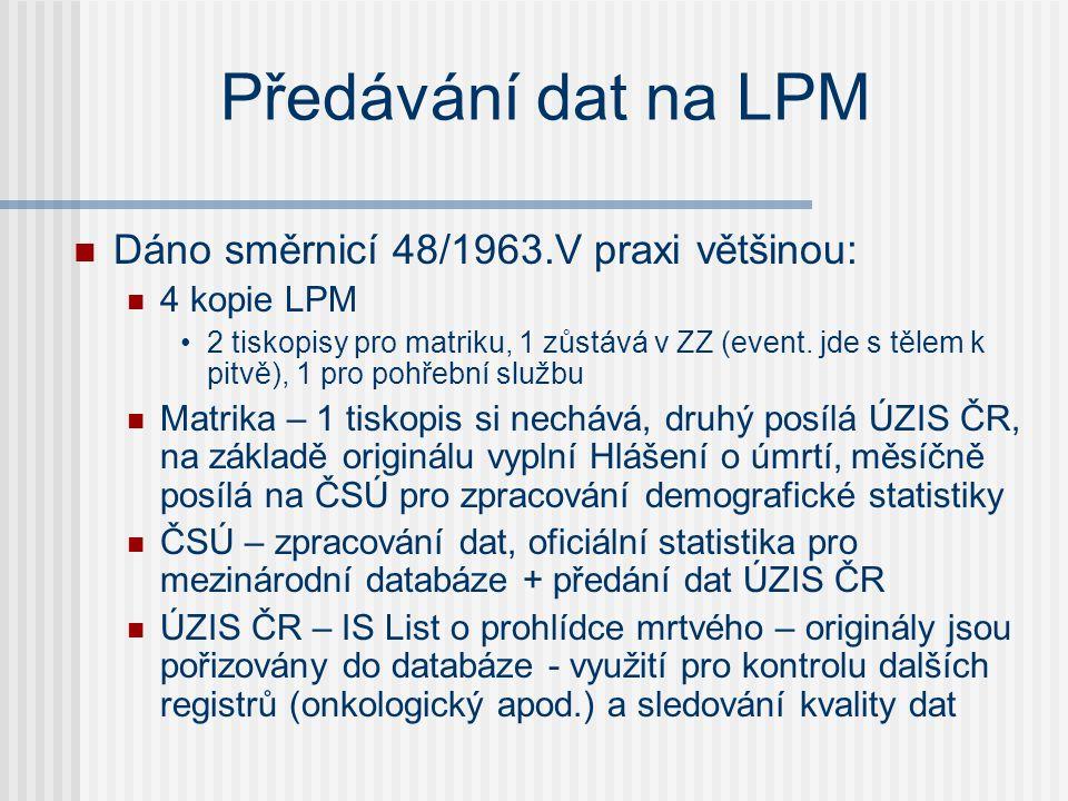 Předávání dat na LPM Dáno směrnicí 48/1963.V praxi většinou: