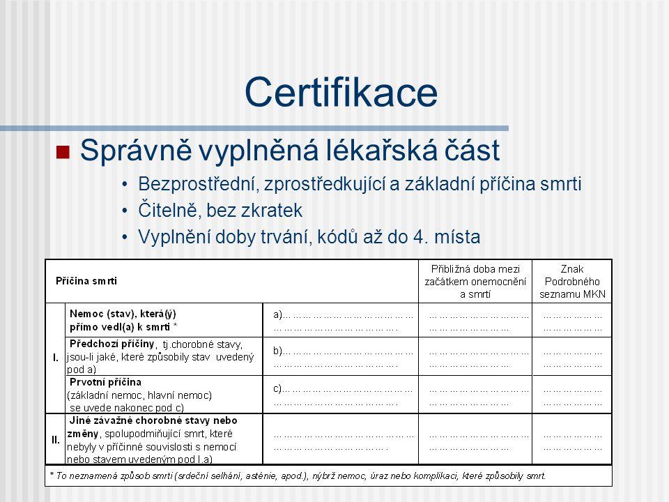Certifikace Správně vyplněná lékařská část