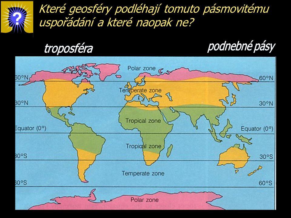 Které geosféry podléhají tomuto pásmovitému uspořádání a které naopak ne