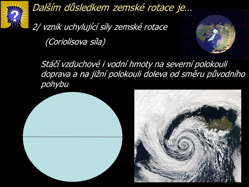 Dalším důsledkem zemské rotace je…