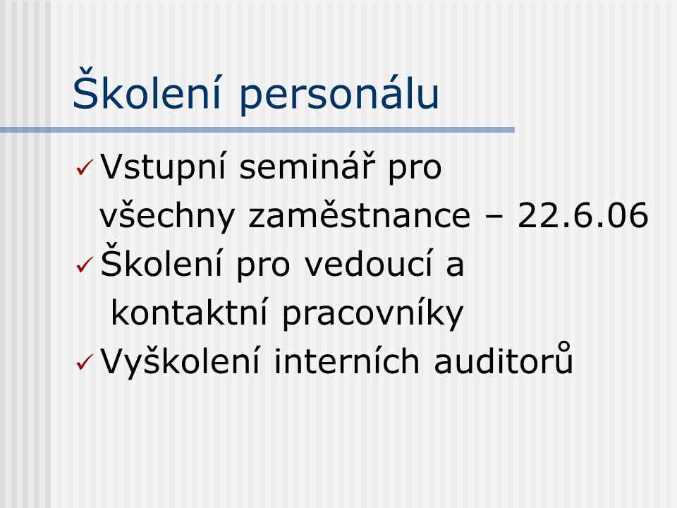 Školení personálu Vstupní seminář pro všechny zaměstnance – 22.6.06