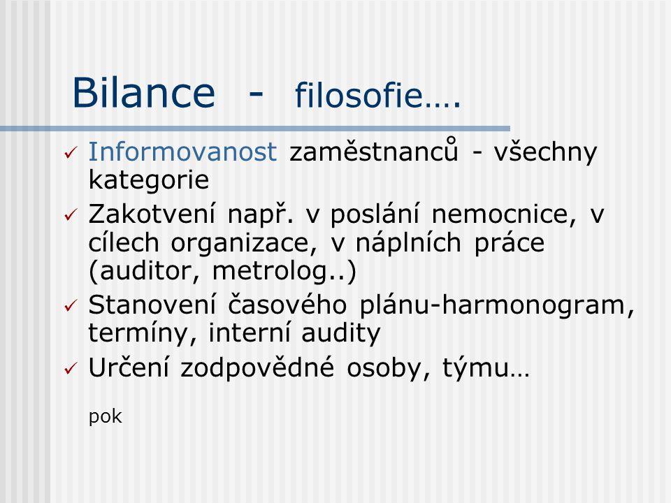 Bilance - filosofie…. Informovanost zaměstnanců - všechny kategorie