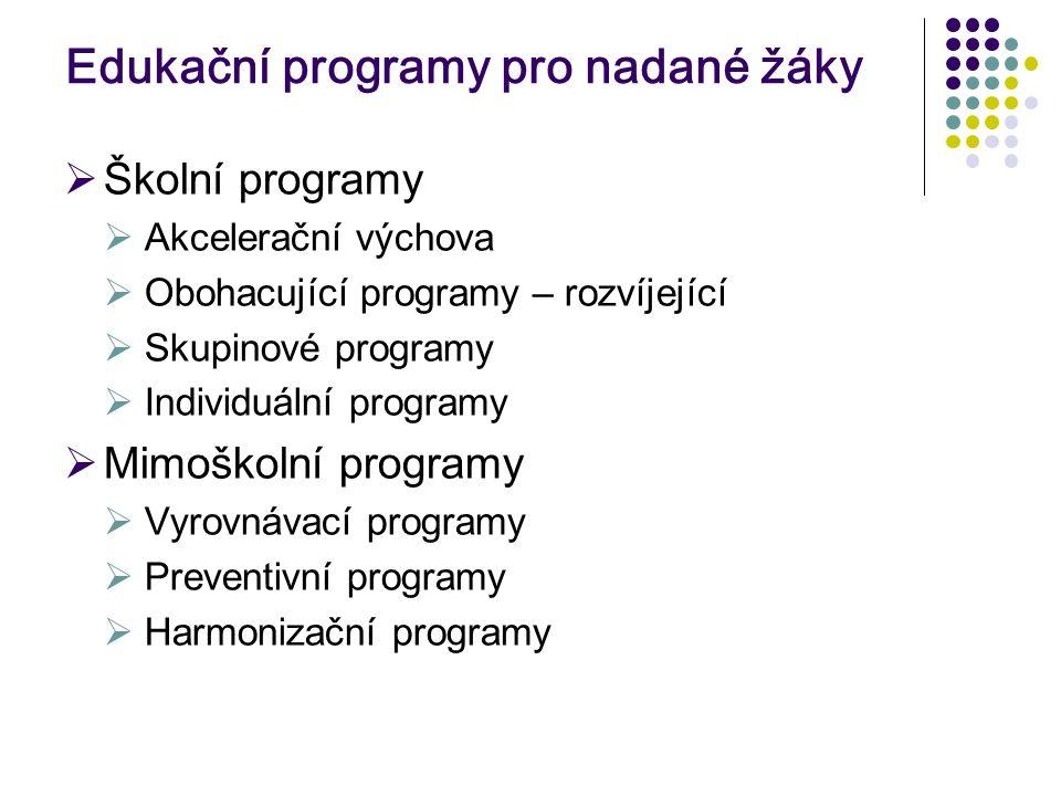 Edukační programy pro nadané žáky